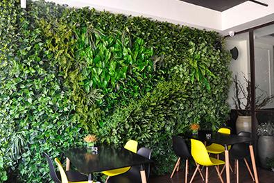 猫咖啡插花式仿真植物墙