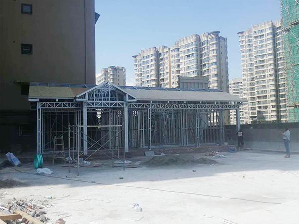 江油香榭国际商品房平台搭建轻钢别院施工现场