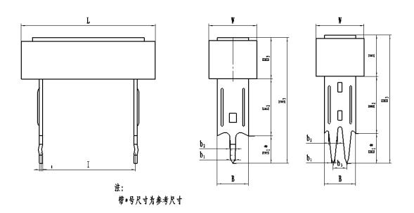 RX27-3型瓷外壳功率线绕电阻器外形图