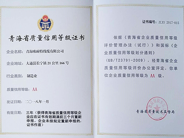 青海省质量信用等级证书