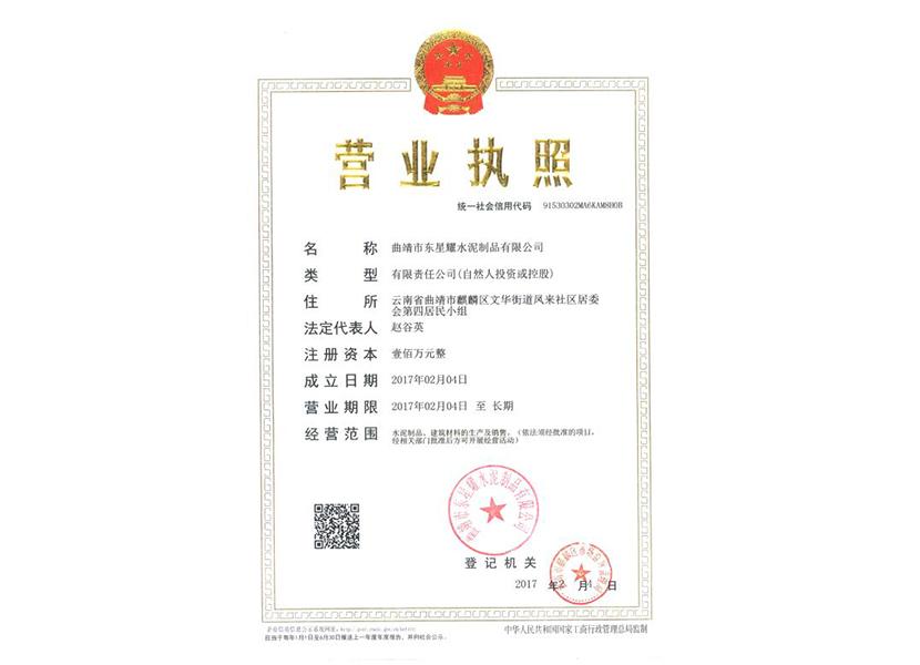 曲靖市东星耀水泥制品有限公司营业执照