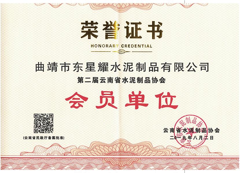 云南省水泥制品协会会员证书