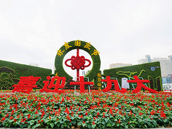 国庆大型绿雕