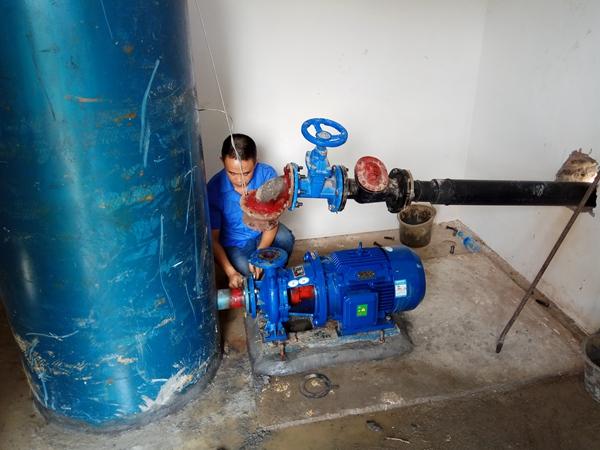 2019年7月,卧式离心泵安装现场