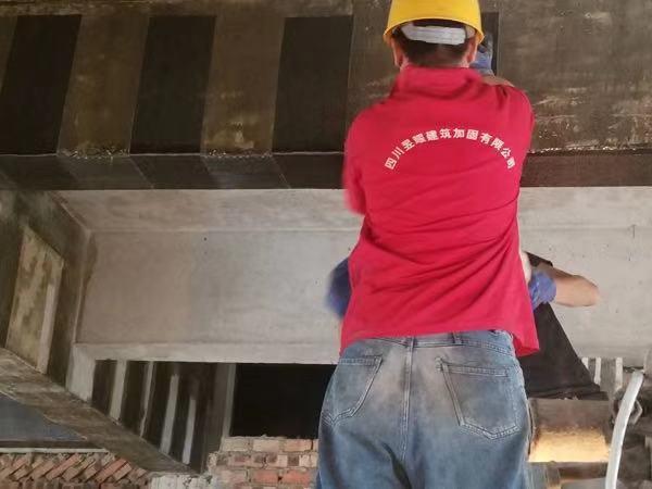 绵阳市富乐山技术学院植筋加固、修补裂缝碳布加固案例