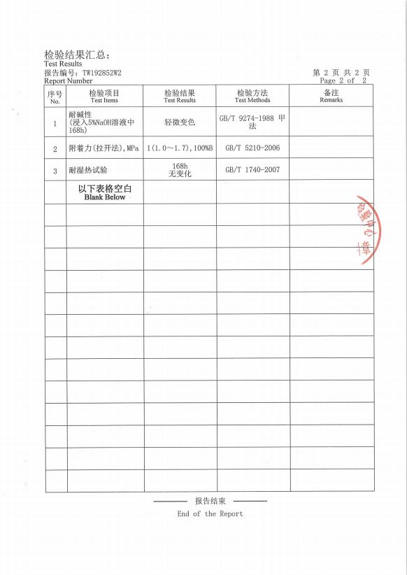 耐高温防腐涂料检验中心报告
