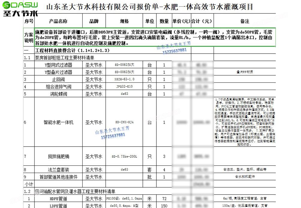杭州温室马铃薯水肥一体化施肥滴灌系统清单预算