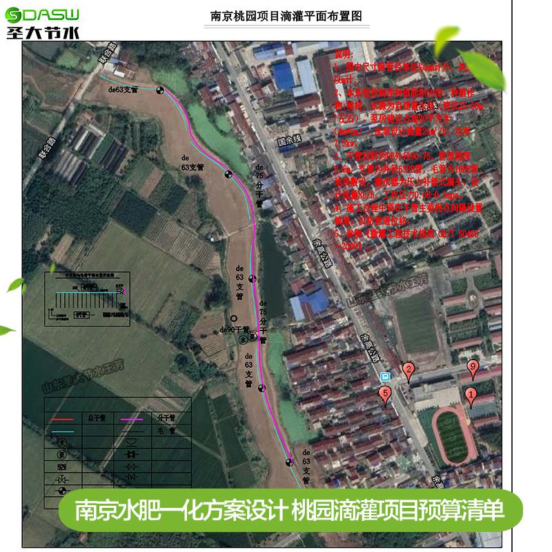 南京水肥一化方案设计 圣大节水厂家提供桃园滴灌项目预算清单图