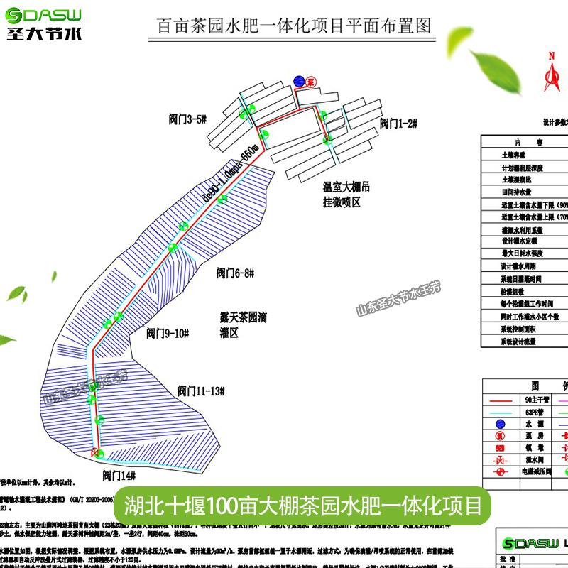 茶园水肥一体化方案设计及清单预算 湖北十堰100亩大棚喷灌施肥机