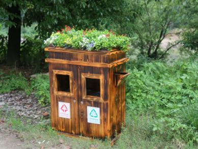 防腐木质垃圾桶