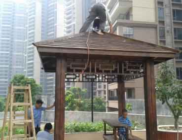 公园防腐木制凉亭搭建
