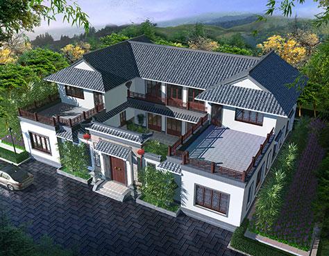 三台中式别墅外墙装修设计