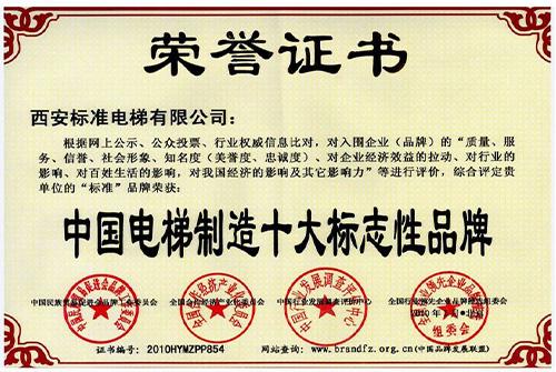 中国电梯制造十大标志性品牌