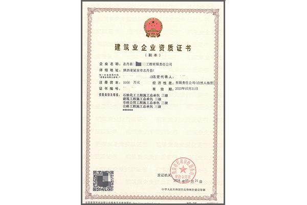 建筑业企业LD乐动体育官网证书实例