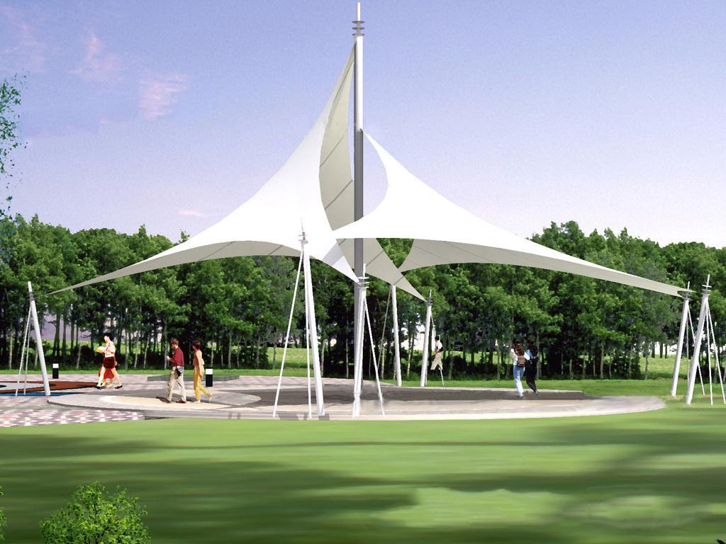 公园膜结构雨棚安装