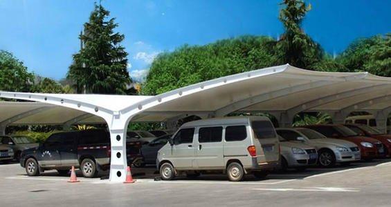 膜结构双开户外停车棚