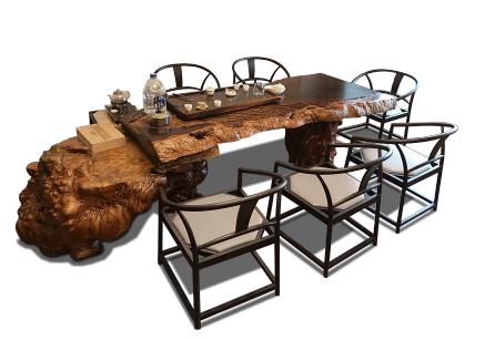 黑檀樹瘤皮大板桌