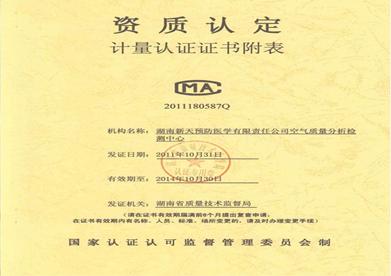 计量认证证书附表