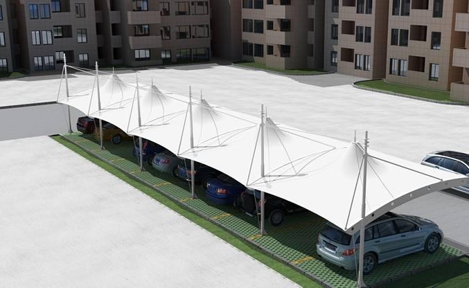 膜结构停车棚仿荷叶效应的应用以及膜结构停车棚在设计中需要注意什么