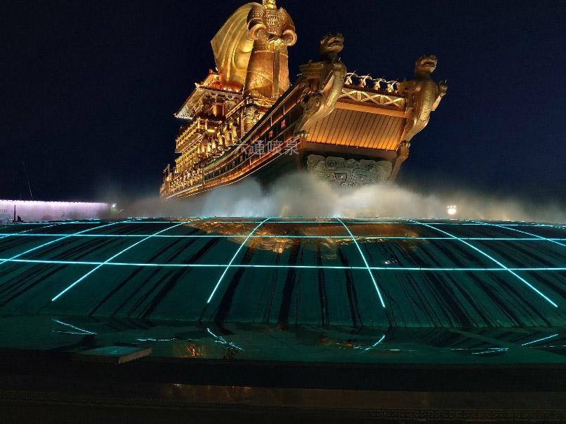 昆明池大型音乐喷泉水景万能支撑器安装案例
