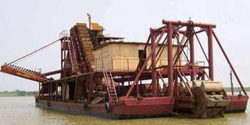 淘金抽沙船上选金毯的应用