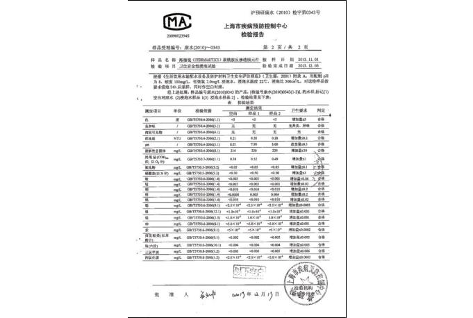 上海市疾病预防控制中心检验报告