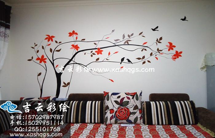 沙发背景墙手绘
