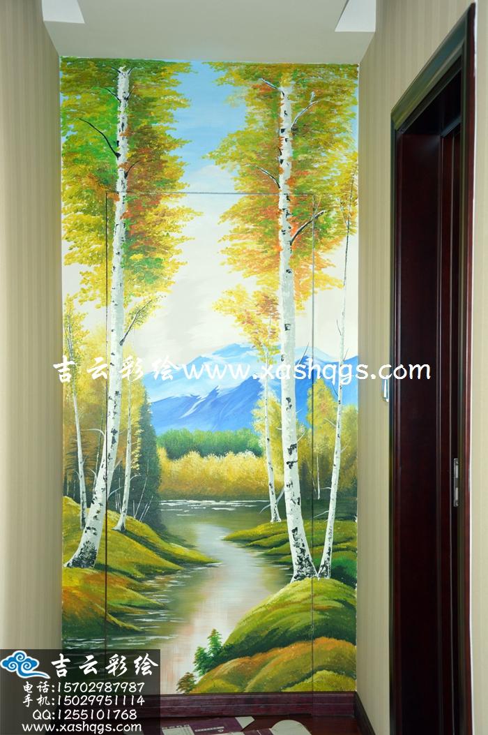玄关手绘墙设计