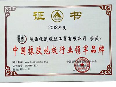 中國橡膠地板行業領軍品牌榮譽證書