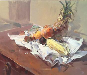 菠萝玉米静物学生色彩作品