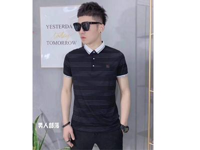 男士條紋商務Polo衫