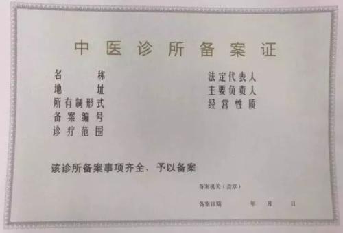 中医诊所备案
