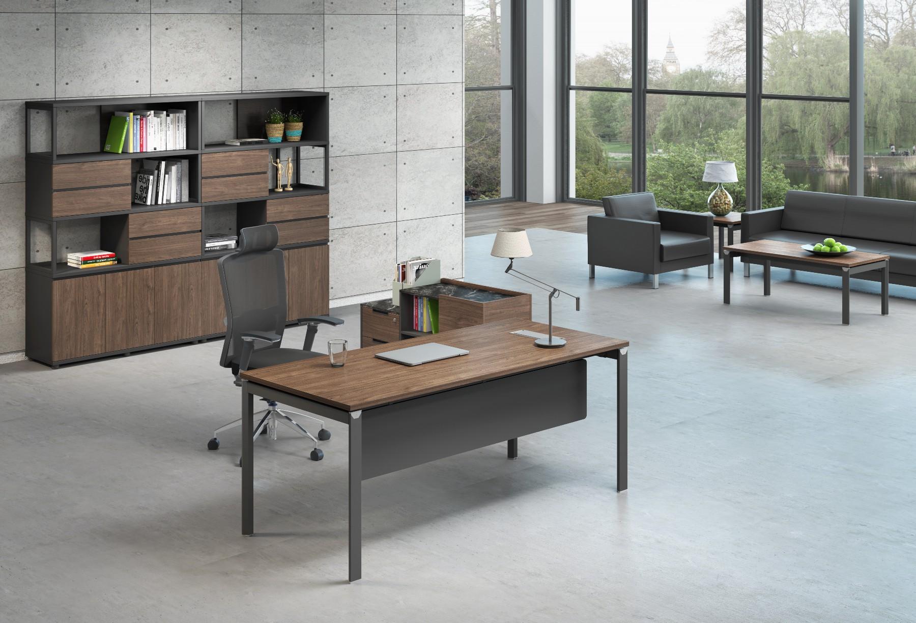 简约现代单人办公桌椅组合