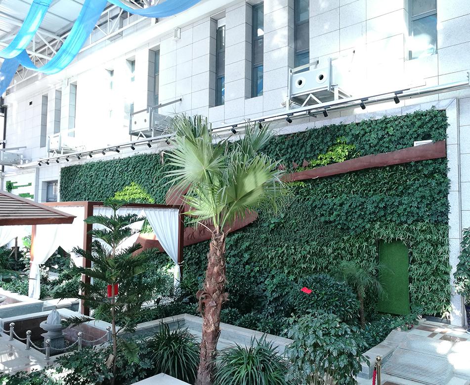 温泉山庄休息区植物墙