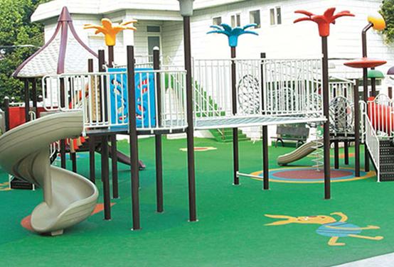 彩虹幼儿园彩色压花地坪施工