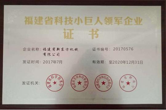 福建省科技小巨人領軍企業證書