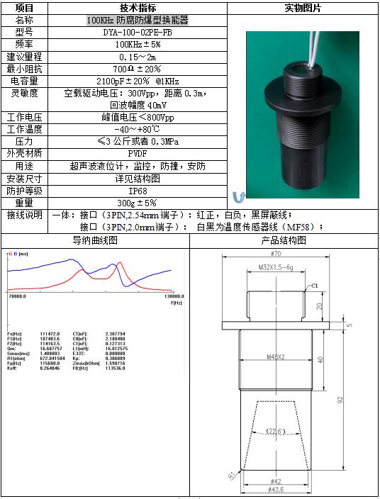 100KHz防腐防爆型換能器