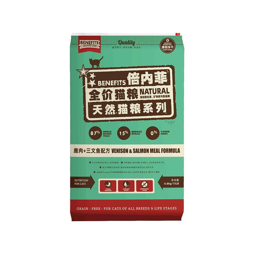 倍内菲鹿肉+三文鱼天然无谷生鲜配方猫粮(6.8kg)