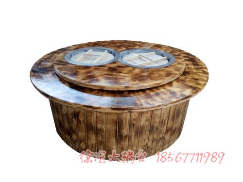 双锅大灶台桌子