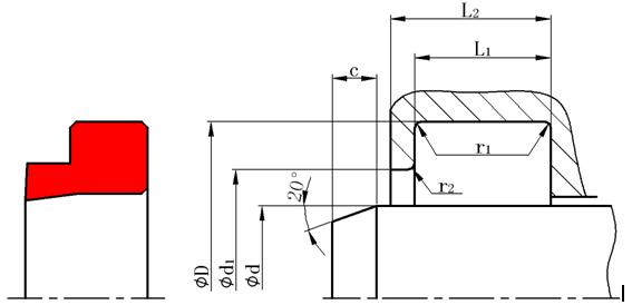 液压支架防尘密封圈外形图