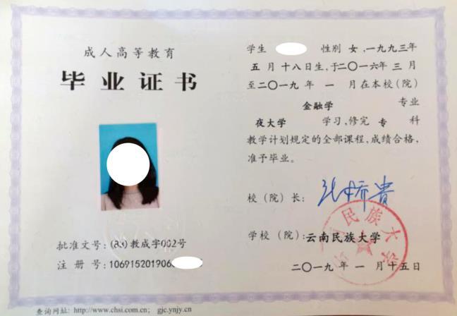 云南民族大学毕业证书