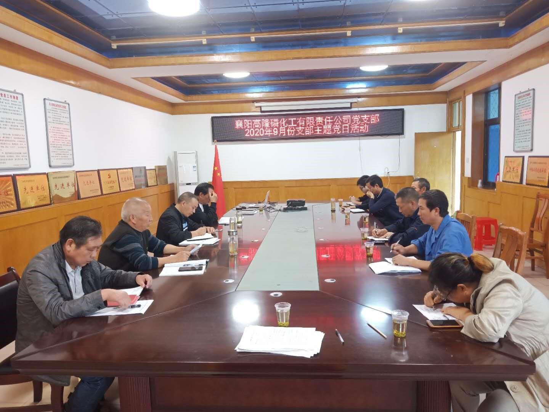 中 共襄陽高隆磷化工有限責任公司2020年9月份 支部主題黨日活動
