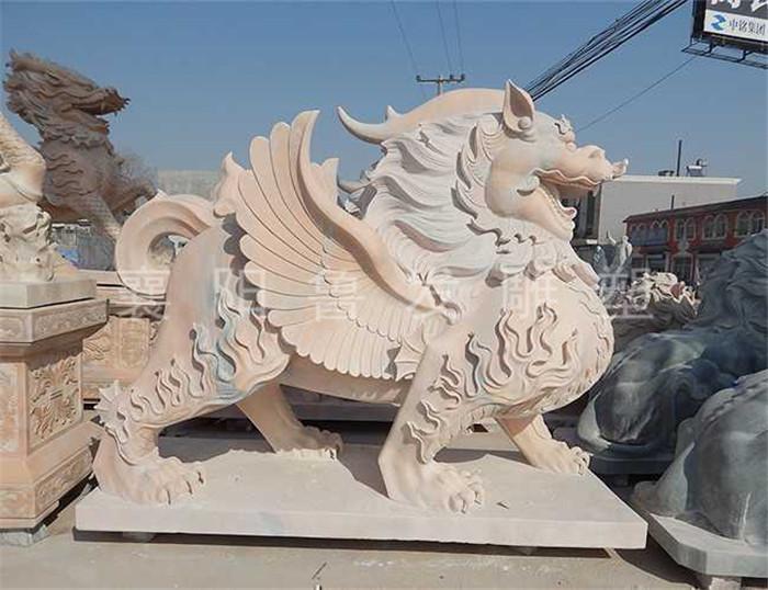 襄阳动物雕塑厂家详解八宝麒麟石雕的样子