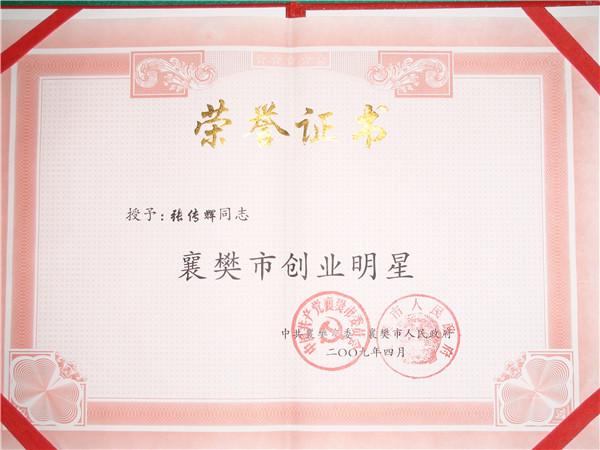 襄阳市创业明星荣誉证书
