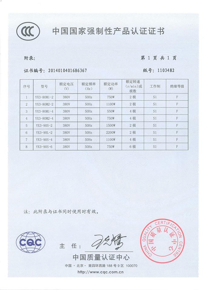 YE3-超高效3C認證書 2
