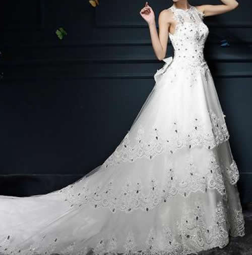 高領式婚紗