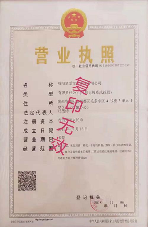 咸陽婚慶公司榮譽資質