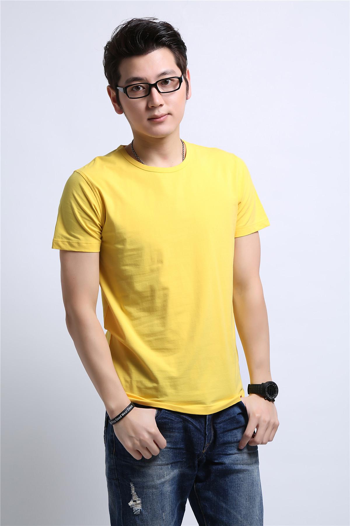 男士黄色T恤衫定制