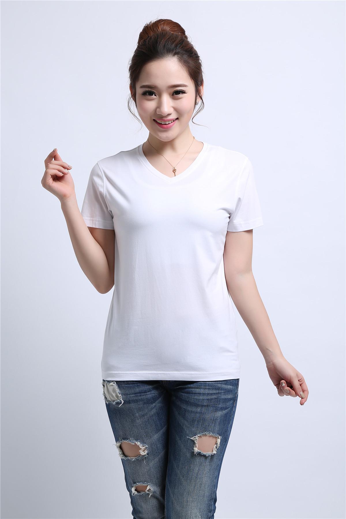 女士白色T恤衫定制