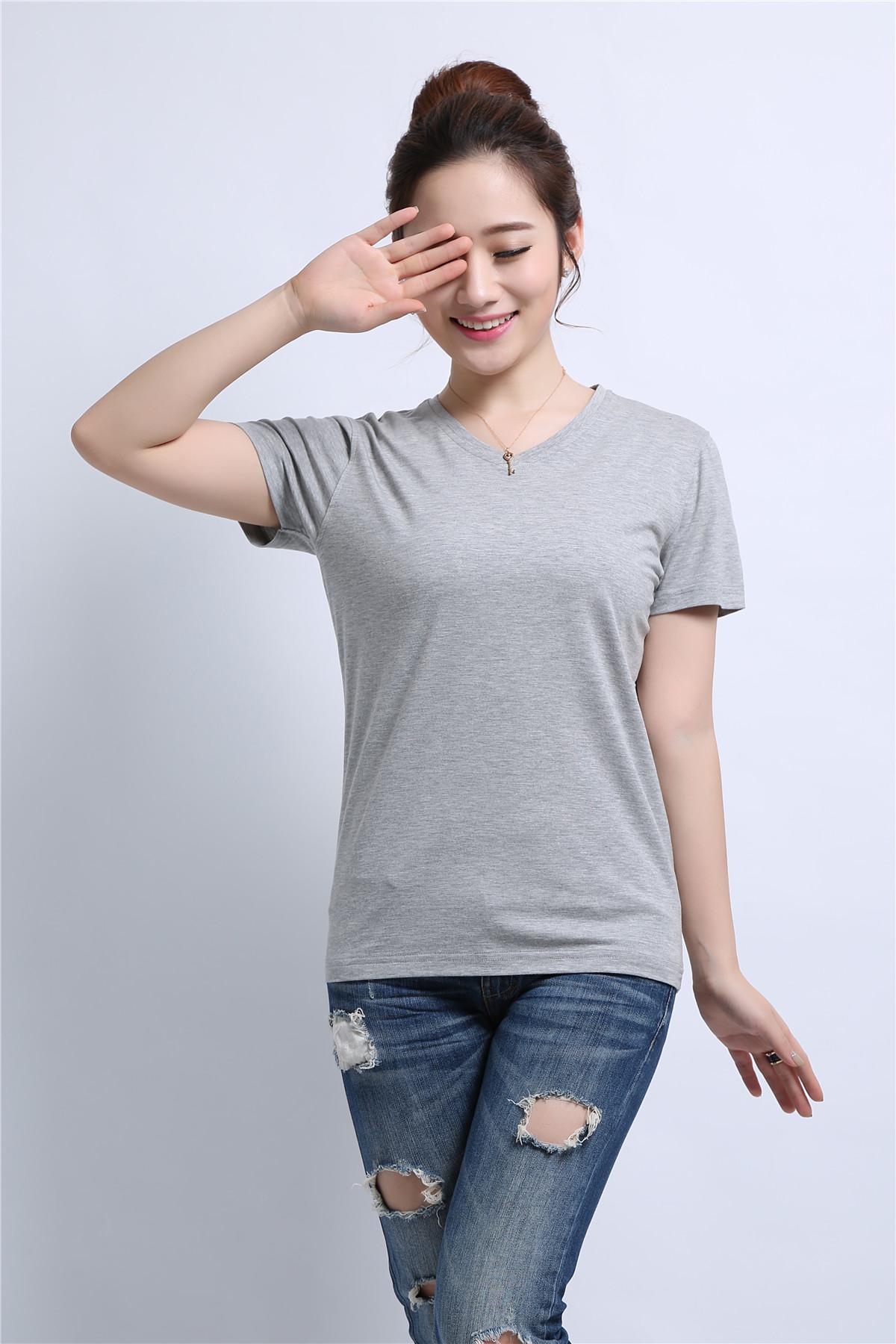 女士灰色T恤衫定制